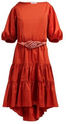 Binetti Love Simple Minds Belted Tiered Cotton Dress - Womens - Dark Orange