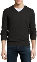 Neiman Marcus Cashmere V-Neck Pullover Sweater, Charcoal