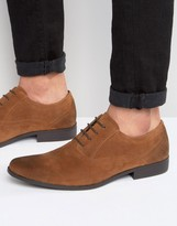 Asos Oxford Shoes In Tan Faux Suede