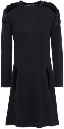 Alberta Ferretti Velvet-trimmed Wool Mini Dress