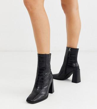 Co Wren wide fit block heeled boots in black croc
