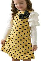 SODIAL(R)Autumn /spring children clothing girls polka dot dress long-sleeve kids clothes girls princess dress 100CM