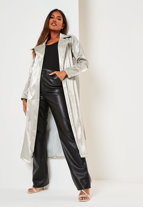 Missguided Silver Metallic Belted Trench Coat