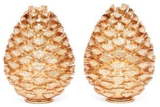 L'OBJET L'Objet Lobjet - Pine Cone 24kt Gold-plated Salt And Pepper Shakers - Gold
