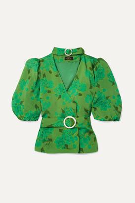 De La Vali Mila Belted Floral-print Satin Blouse - Green