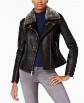 French Connection Faux-Fur-Trim Faux-Leather Moto Jacket