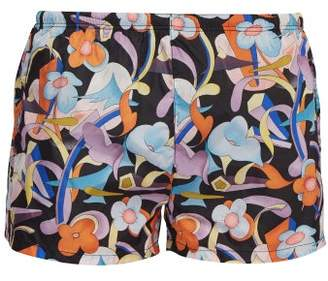 Prada Abstract Floral Print Swim Shorts - Mens - Black Orange