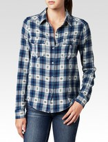 Paige Mya Shirt - Black / Smoke Blue Jacquard Plaid