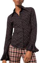 Michael Kors Floral-Print Crushed Bell-Sleeve Shirt, Black
