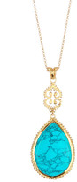 Argentovivo 18K Gold Plated Sterling Silver Turquoise Teardrop Pendant Necklace