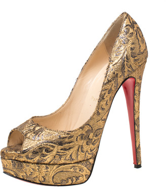 Christian Louboutin Gold Brocade Fabric Lady Peep Toe Platform Pumps Size 38.5