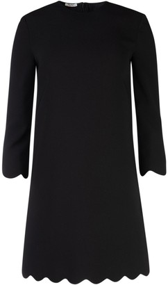 Miu Miu Scalloped Trim Long Sleeved Dress