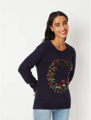 George Navy Sequin Holly Wreath Christmas Jumper