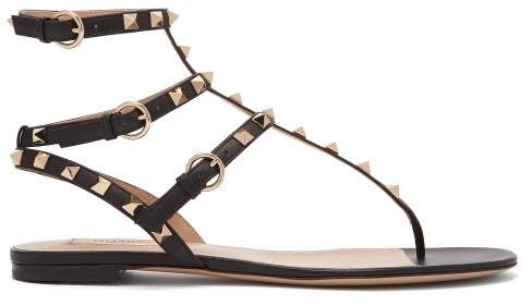 Valentino Rockstud Leather Sandals - Womens - Black