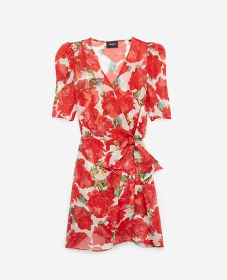 The Kooples Printed wrap short dress with flowers, red