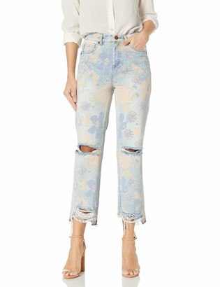 Blank NYC Women's Oral Floral Printed Distressed Jean with Released Hem Detail