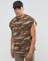 Asos Super Oversized Sleeveless T-Shirt In Vintage Khaki Camo With Disconnected Neck