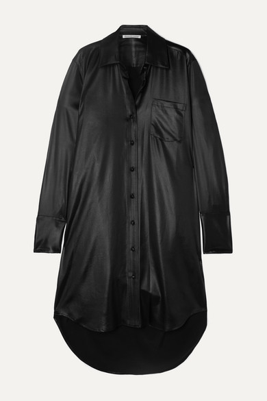 Alexander Wang Coated Twill Shirt Dress - Black
