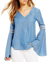 Lovers + Friends Seawater Chambray Bell Sleeve Top