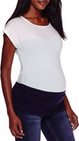 Asstd National Brand Maternity Short-Sleeve Colorblock Shirt - Plus