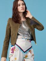Diane von Furstenberg Suede Zip Front Fitted Jacket