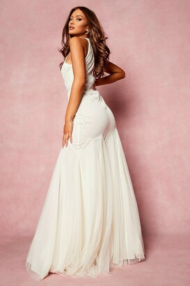 boohoo Bridesmaid Hand Embellished Halter Maxi Dress