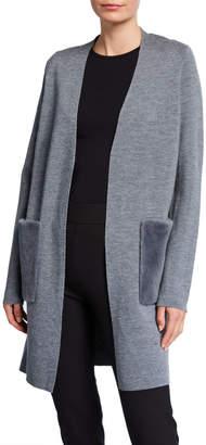 Elie Tahari Amora Wool Sweater w/ Fur Pockets