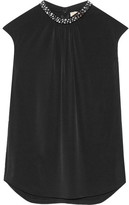 MICHAEL Michael Kors Embellished Stretch-jersey Top - Black