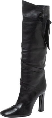 Casadei Black Leather Wrap Strap Knee High Boots Size 40