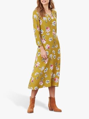 Joules Darcey Button Front Midi Dress, Gold Floral