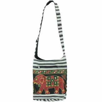 Caravan Embroidered elephant canvas sling shoulder bag - Red (One Size)