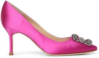 Manolo Blahnik Hangisi 70 pink satin pumps