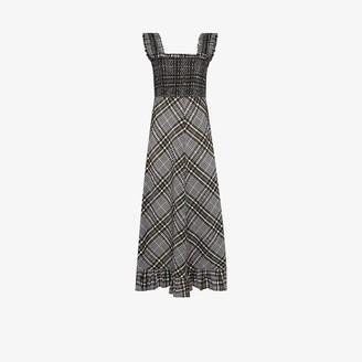 Ganni Check Print Seersucker Midi Dress