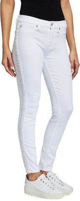 7 For All Mankind The Ankle Skinny Jeans w/ Braided Detail