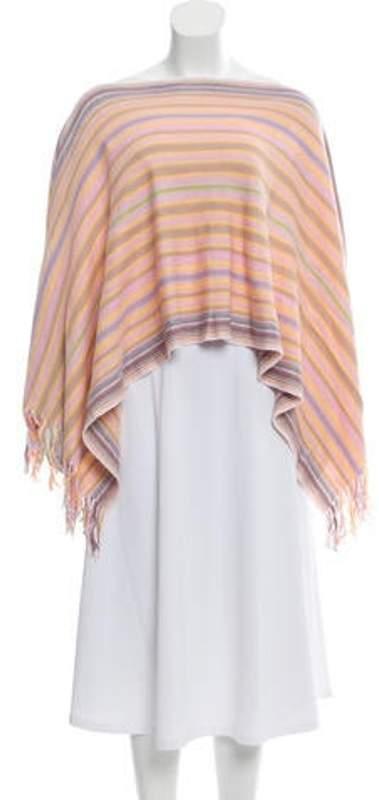 Missoni Fringe-Trimmed Striped Poncho White Fringe-Trimmed Striped Poncho