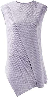 Pleats Please Issey Miyake pleated asymmetric sleeveless top