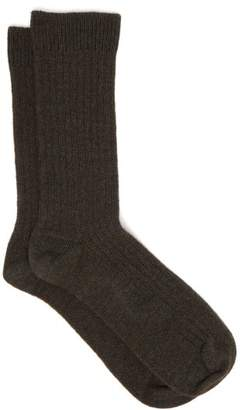 Hanro Ribbed Knit Ankle Socks - Womens - Dark Green