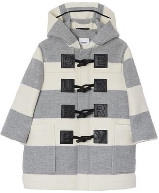 Burberry Kids Logo Detail Striped Wool Cashmere Blend Duffle Coat