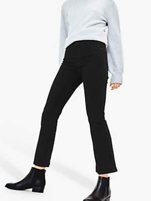 Oasis Frances Cropped Bootcut Jeans, Black