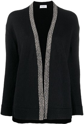 Saint Laurent Beaded Wool-Blend Cardigan