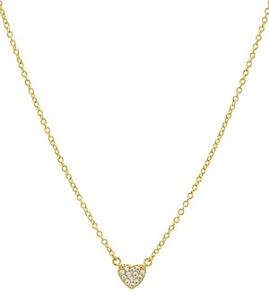 Aqua Small Embellished Heart Pendant Necklace in 14K Gold-Plated Sterling Silver or Sterling Silver, 16 - 100% Exclusive