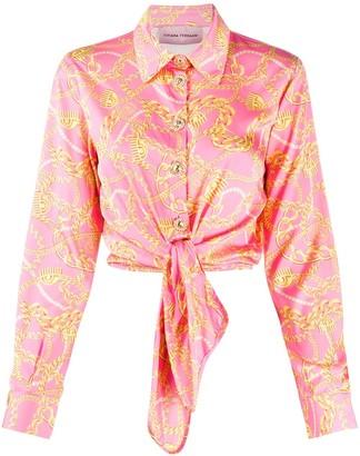Chiara Ferragni Chain Print Tie-Front Shirt