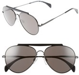 Tommy Hilfiger Women's 58Mm Aviator Sunglasses - Shiny Black