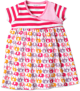 Zutano Pink Ella's Elephants Surplice Dress - Infant