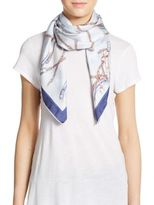 Saks Fifth Avenue BLACK Chain & Pearl-Print Silk Scarf