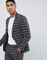 Asos Design Skinny Suit Jacket In Black And White Grid Check