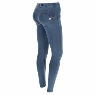Freddy WR.UP Regular-Rise Super Skinny Trousers in Light Jersey Denim - Clear Jeans-Yellow Seams - Large