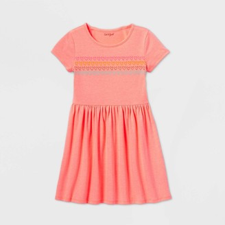 Cat & Jack Girls' Short Sleeve Printed Knit Dress - Cat & JackTM