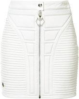 Philipp Plein stitched panel mini skirt - women - Lamb Skin/Polyester/Acetate - XS