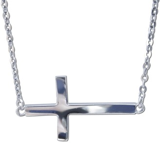 Dimaya 14k White Gold Floating Sideways Cross Charm Necklace